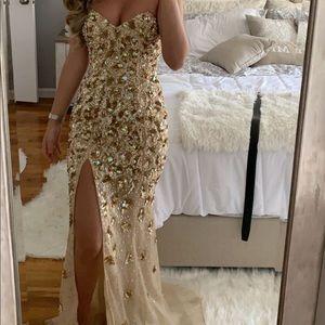 Jovani champagne gold dress